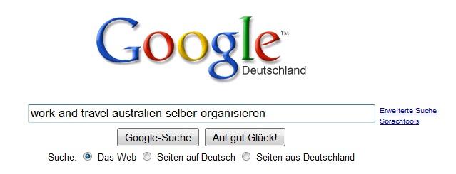 Google suche - work and travel selbst organisieren