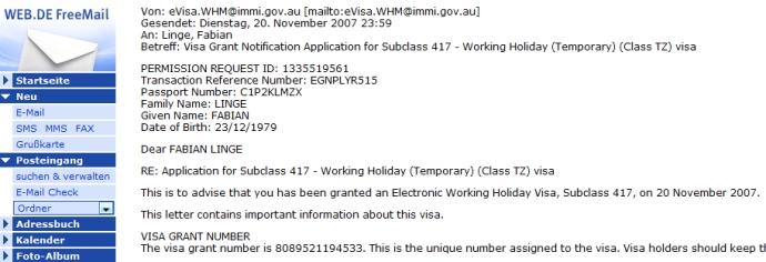 Visa-Bestaetigungs-Email